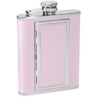 "Visol ""SP Pink"" Leather Stainless Steel Flask with Built In Cigarette Case, 6-Ounce, Pink"