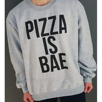 DCCKJ1A Long-sleeved men and women cotton letters sweater PIZZA IS BAE