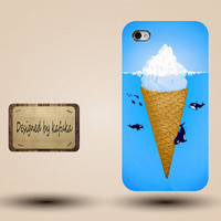 iphone case, i phone 4 4s 5 case,cool cute iphone4 iphone4s 5 case,stylish plastic rubber cases cover,ice cream whale sea  funny case p1046