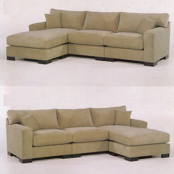 3 pc custom sectional sofa with straight lined styling and ottoman chaise