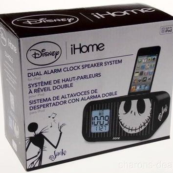 Disney iHome Jack Skellington Dual Alarm Clock Speaker System for iPod 30 Pin