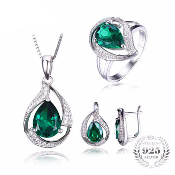 .925 Solid Silver Emerald & Cubic Zirconia Trillion Swirl Ring Pendant Necklace & Earrings Set