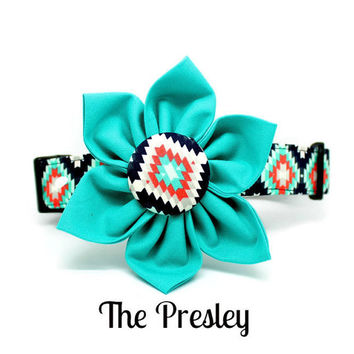 Blue Coral Aztec Dog Collar-- The Presley Collar