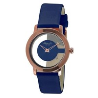 Kenneth Cole Transparent Rose Gold Watch with Blue Leather Strap