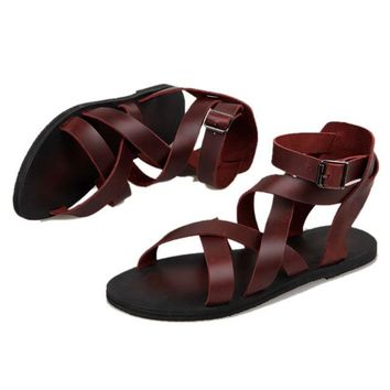 New Summer Men Buckle Strap Beach Shoes Roman Gladiator Cross-tied  Leather Sandals