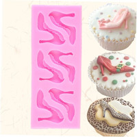 Silicone High-heel Shoes Design Fondant Cake Molds Chocolate Mould Decoration ao0 (Color: Pink)