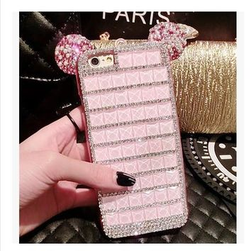 Mickey Mouse Bling Rhinestone Cover Cases for Samsung Galaxy Phone Case With chain