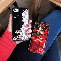 New Liquid Glitter Quicksand Love Sequins Cover Shell for iPhone 7 7plus 6 6S 6plus 6splus Luxury Phone Cases Hard Back -0325