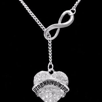 Infinity Crystal Fireman's Wife Firefighter Fire Wife Gift Lariat Style Necklace