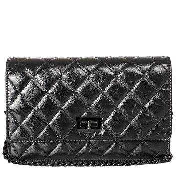 "Chanel ""So Black"" 2.55 Reissue Quilted Calfskin Wallet On Chain (WOC)"