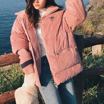 """""""Adidas"""" Women Fashion Solid Color Long Sleeve Corduroy Cotton-padded Clothes Coat"""
