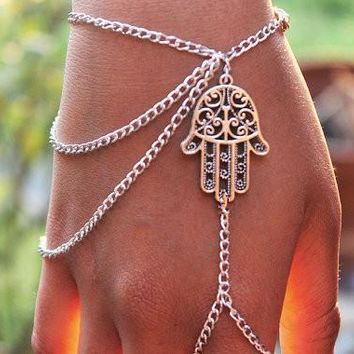 Hamsa Fatima Finger Ring  Hand Chain  Bracelet Bangle