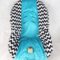 Toddler Baby Car Seat Cover Black Zig Zag  With Teal Dots Minky In the Middle by Baby in Motion