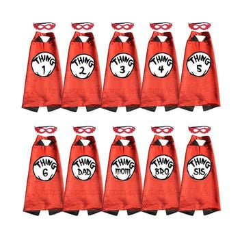 Girls and Boys Thing 1 Thing 2 Costumes Cape with masks for kids birthday party Halloween Cosplay Gifts dress up