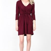 Faux Wrap & Tie Front Suedette Dress {Burgundy}