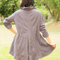 Long Sleeve Dress Plus Size, Tunic, Tank, Tops, Cowl Neck Dress, Hoodie, Asymmetrical Tunic, Charcoal Dress, Grey, Cotton, Maternity Clothes