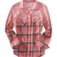 LONG SLEEVE DIP-DYE PLAID SHIRT
