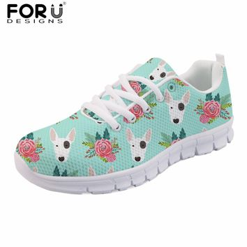 FORUDESIGNS Cute Women Spring Shoes Animal Bull Terrier Printed Women's Sneakers Casual Female Flats Lace-up Shoes Woman Zapatos