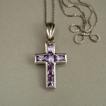 Vintage Italy Modernist Sterling Silver CROSS Pendant AMETHYST Gemstones CHAIN Necklace Signed c.1970s