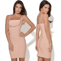 Women's Fashion Sexy Spaghetti Strap Slim Backless Bandages One Piece Dress [4919882372]