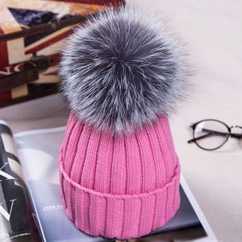 Women girls knitted wool beanies caps thick female cap casual Women's Fur gorros hats