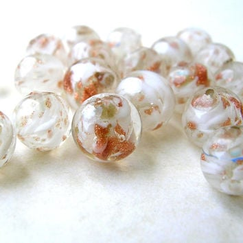 Rare Antique Glass Beads, Vintage Swirled Glitter Beads, 8MM Beads, Glass Beads, Old Bead Lot