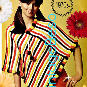 DIGITAL PATTERN •  Poncho KNITTING Pattern • PdF Pattern • 1970s Vintage Pom Pom Poncho • Mexican influence • Cinco de mayo • Retro Fun