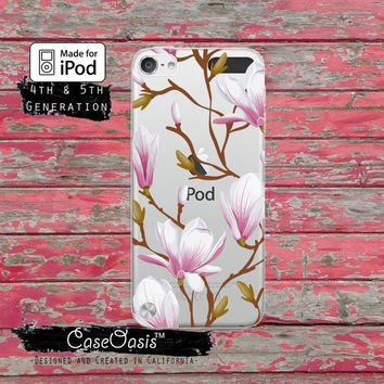 Magnolia Purple Pink Flower Pattern Floral Tumblr Inspired Case for Clear Transparent Rubber iPod Touch 5th Generation Case 5th Gen Cover