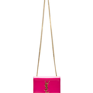 Saint Laurent Fuchsia Leather Tassel Monogram Small Shoulder Bag