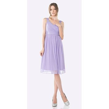 Knee Length Lilac Beach Wedding Bridesmaid Dress Flowy Chiffon