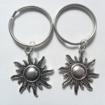 Two best friends keychains sun charm bff couples sisters BFF