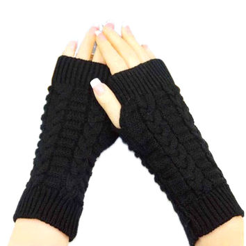 2016 Hot Sale Women Men Knitted Arm Fingerless Winter Gloves Female Male Soft Warm Mitten Good-looking AU 3