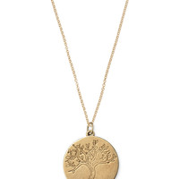 Bronze Disc Tree Charm Necklace | Bronze Tree of Life Necklace | Stella & Dot
