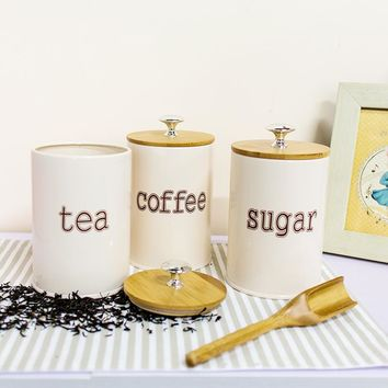 Tea, Coffee, Sugar Sealed Storage Container with Bamboo Cover