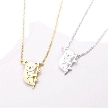 ac spbest 2017 Vivid Koala Bear and Branch Shaped Necklace Cute Simple Animal Koala Gold Silver Collar Necklace for Women girl gifts