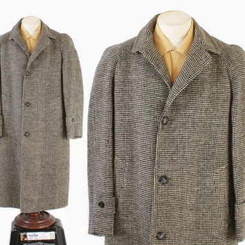 Vintage 60s OVERCOAT / 1960s Men's HARRIS TWEED Check Wool British Winter Coat L