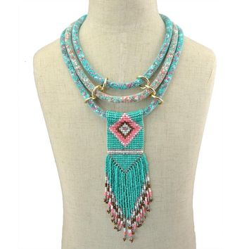 Three Multi Layered Mesh Chain Necklace Fashion Handmade Resin Beaded Jewelry