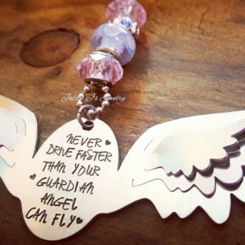 Never Drive Faster Than Your Guardian Angel Can Fly Car Charm, Rearview Mirror Charm, Handstamped Car Charm, Protection Charm