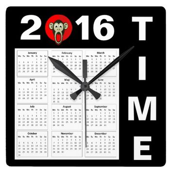 Happy New Year 2016 Cute Monkey Number Calendar Square Wall Clocks