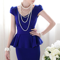 Forever Classy Lady. Royal Blue Peplum Dress. Work Dress Cocktail Dress