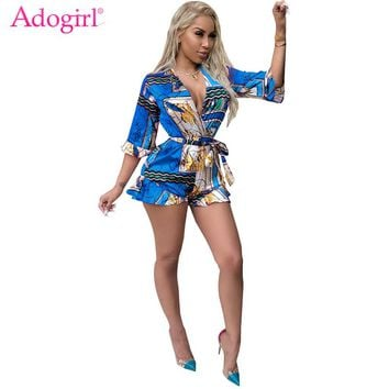 5c651fa7692 Adogirl Fashion Print Ruffle Women Summer Playsuits Wrap V Neck