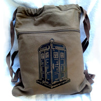 Tardis Doctor Who Backpack Brown Drawstring Canvas Book Bag