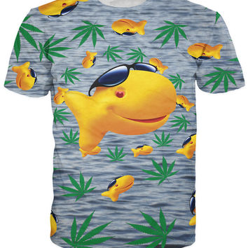 new women men summer tees harajuku weed leaf shirts tops 3d goldfish t shirt The Snack That Smiles Back  T-Shirt