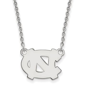 NCAA 14k White Gold North Carolina Small 'NC' Pendant Necklace