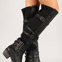 Strappy Mixed Media Knee High Boot