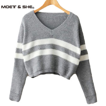 4 Colors!Spring 2016 Women Sweaters Pullovers V-neck Crop Tops Striped Long Sleeve Knitted Sweater Roupas Femininas T4N510