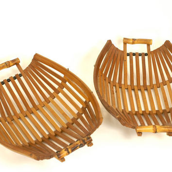 Bamboo Baskets Mid Century Modern - Set of 2