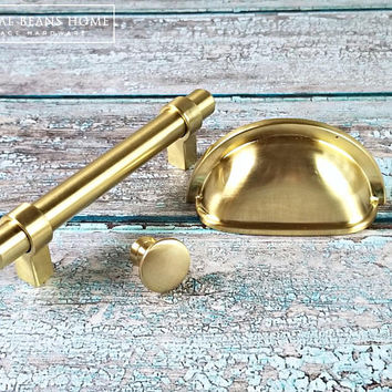 Gold Apothecary Drawer Pull Gold Bin Cup Pull Gold Drawer Pull Modern Dresser Drawer Pull Industrial Dresser Pull Brushed Gold Cup Pull
