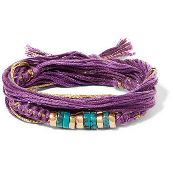 Aurélie Bidermann - Takayama cotton, gold-plated and turquoise wrap bracelet
