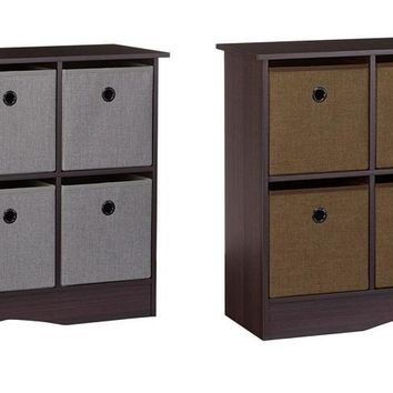 Storage Cabinet Espresso 6 Cubbies Gray or Brown Modern Style Solid Hardwood